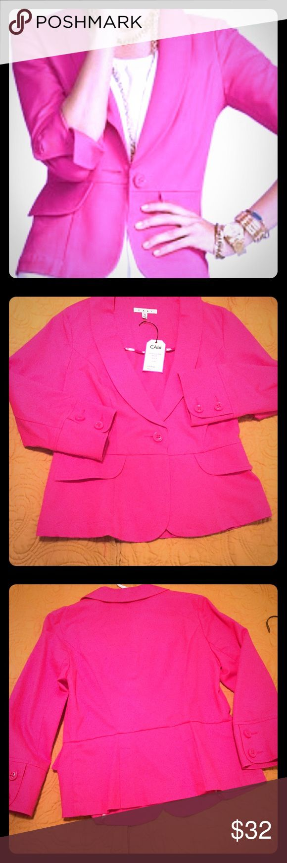 CAbi Power Pink Blazer Super cute blazer, new. Hot pink. CAbi Jackets & Coats Blazers