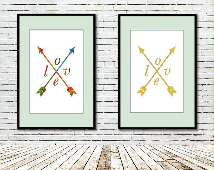 Arrow Love Printable, Modern art, Art print, Gold glitter, Artist palette, Wedding art, Modern Geometric Wall Decor, Valentine's day print by GecleeArtStudio on Etsy