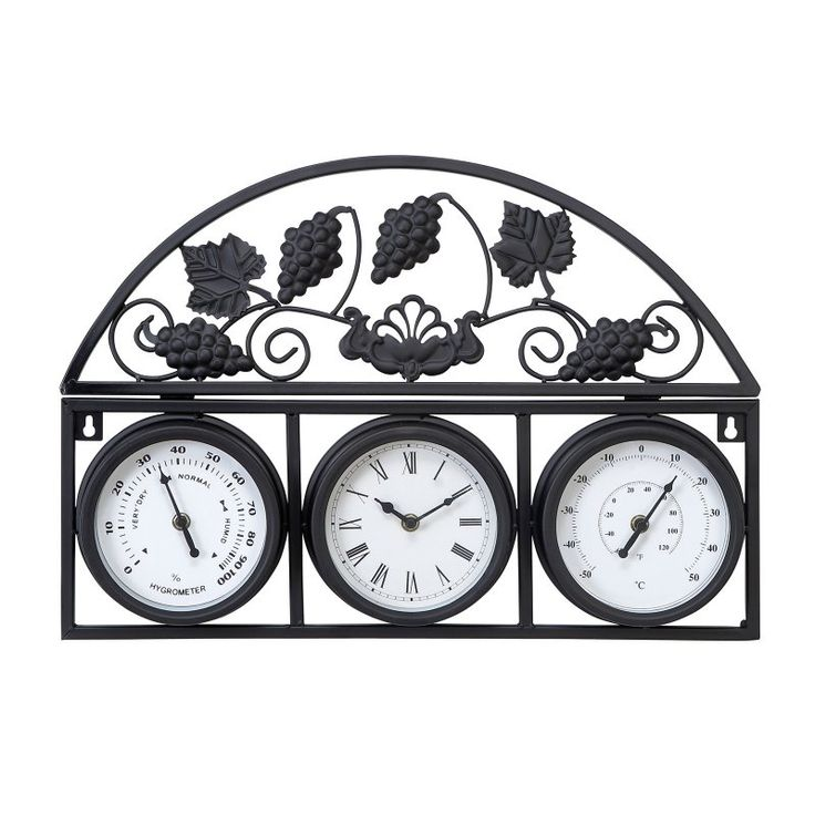 DecMode Grapevine Metal Outdoor Wall Clock and Weather Station - 35416