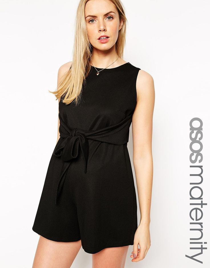 ASOS Maternity Textured Playsuit With Tie Front