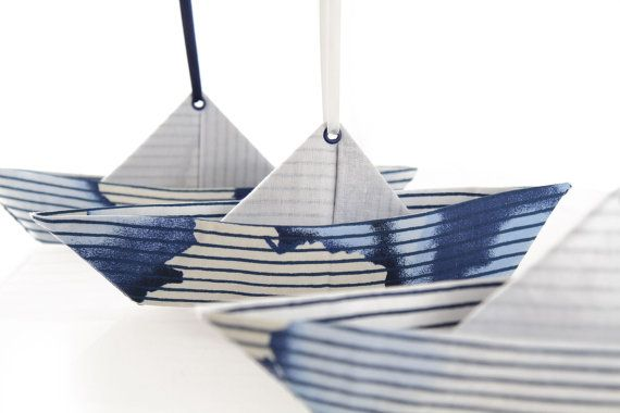 Set of 3 origami fabric decorative paper boat post by MoranAlhalel, $49.00