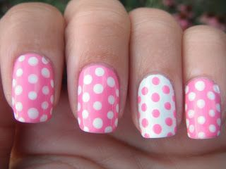 Pink polka dot nail art with Zoya Nail Polish in Shelby - Young Wild and Polished