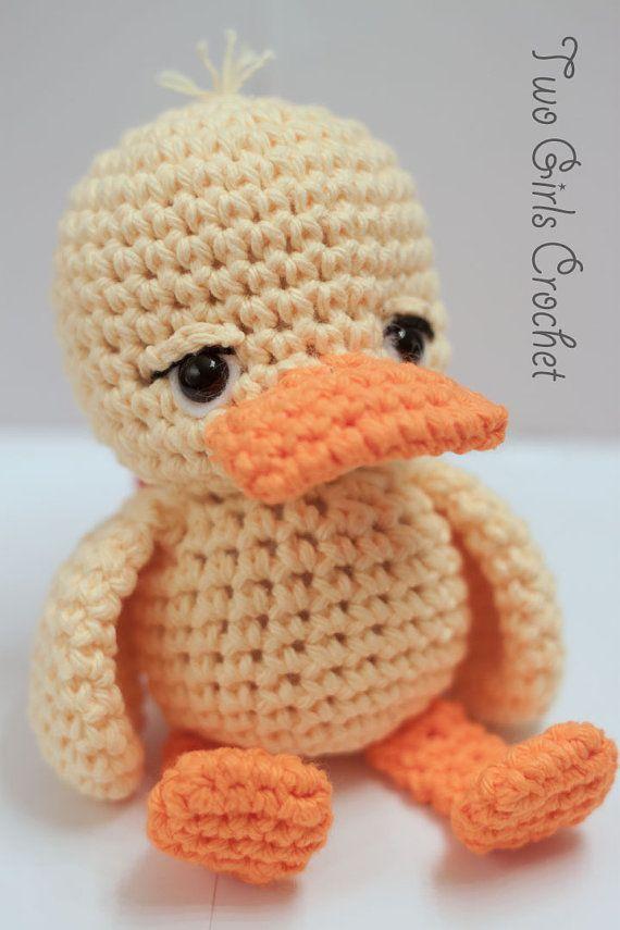 Crochet Duck Amigurumi Rattle Toy Jake Made to by TwoGirlsCrochet, $15.99
