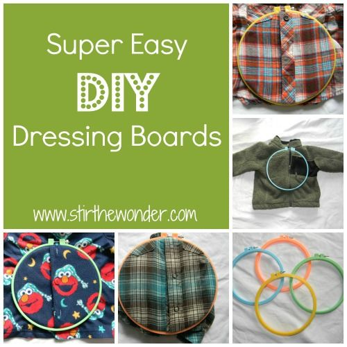 DIY Montessori Dressing Frame from Stir the Wonder! These dressing boards seriously couldn't be any easier to put together! All you have to do is separate the two hoops (each hoop comes with two rings, one inner and one outer) place your article of clothing on the inner hoop with your buttons (or snaps or zippers) centered. Then place the outer hoop on top and tighten with the screws! Easy!