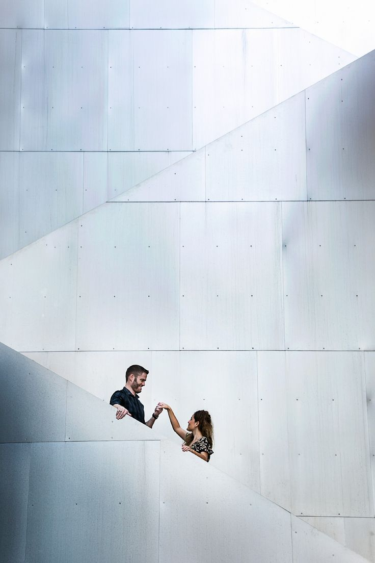 The metallic architecture of the Walt Disney Concert Hall in Downtown LA makes it an idyllic urban e-session location.