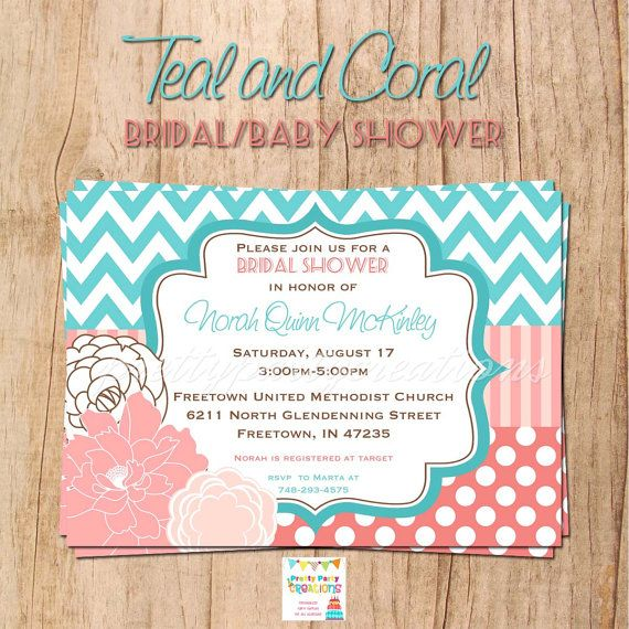 TEAL and CORAL Bridal/Baby Shower by PrettyPartyCreations on Etsy, $11.50