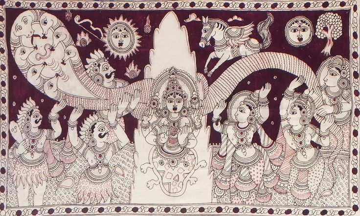 Samudra Manthan (Kalamkari Paintings on Cotton - Unframed))