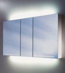 Schneider GRACEline Aluminium Spiegelschrank 130cm 3-türig Lichtspiegel mit 3 Drehtüren