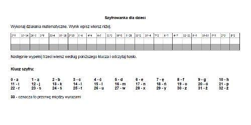 Szyfrogram dla dzieci - łatwy