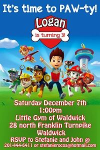 Personalized PAW Patrol birthday invitations