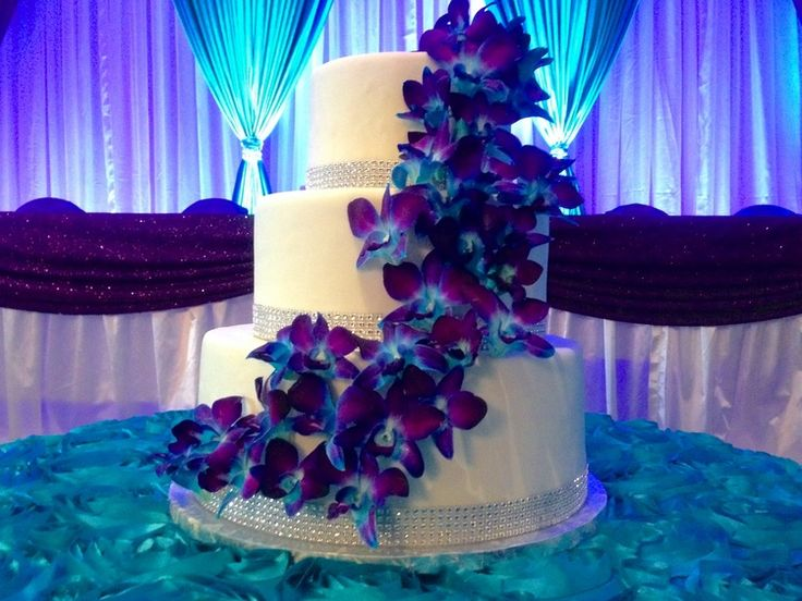 Orchid Covered Wedding Cake Galaxy Blue Orchid Wedding Purple