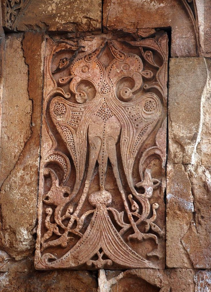 Sivas, Divriği_Great_Mosque_and_Hospital. Stone carving. Double headed eagle.