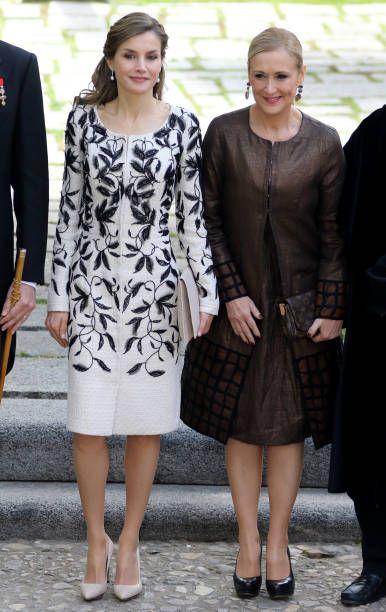 Cristina Cifuentes and Queen Letizia of Spain attends Cervantes Award Ceremony to the Spanish writer Eduardo Mendoza at Alcala de Henares University...
