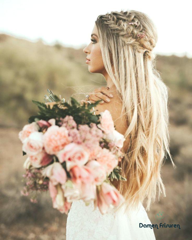 Kronengeflecht Lange Frisur Hochzeit Haar Blonde Braut Braut Sarisin Gelin Uzun Sac Modelleri Dugun Saci
