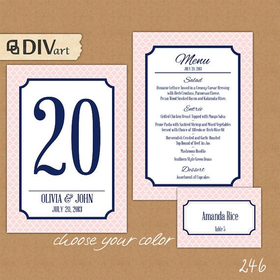 PRINTABLE Wedding Set:  Wedding Menu, Rehearsal Dinner Menu, Table Numbers, Place Cards for 100 guests - custom color - quatrefoil - 246
