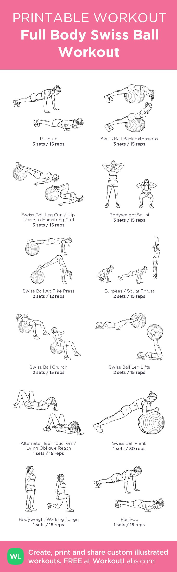 Full Body Swiss Ball Workout:my visual workout created at WorkoutLabs.com • Click through to customize and download as a FREE PDF! #customworkout