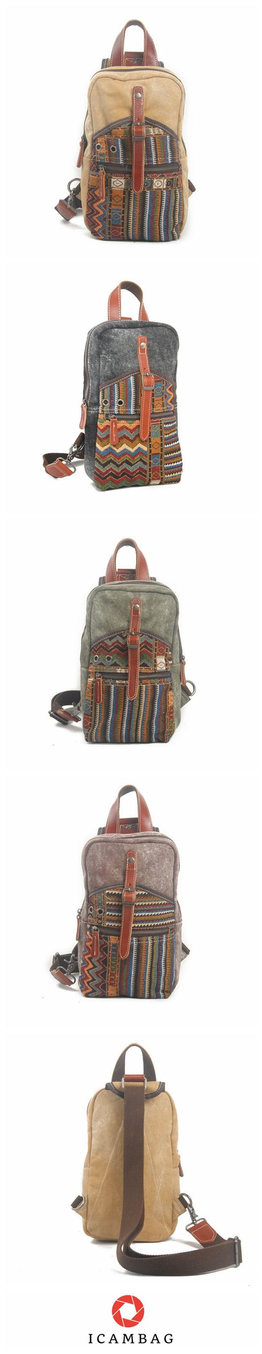 Striped Canvas Single Shoulder Bag For Men's And Women's 1007