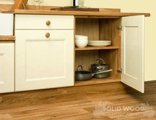 Solid oak kitchen base cabinets including solid wood for Kitchen units without plinths