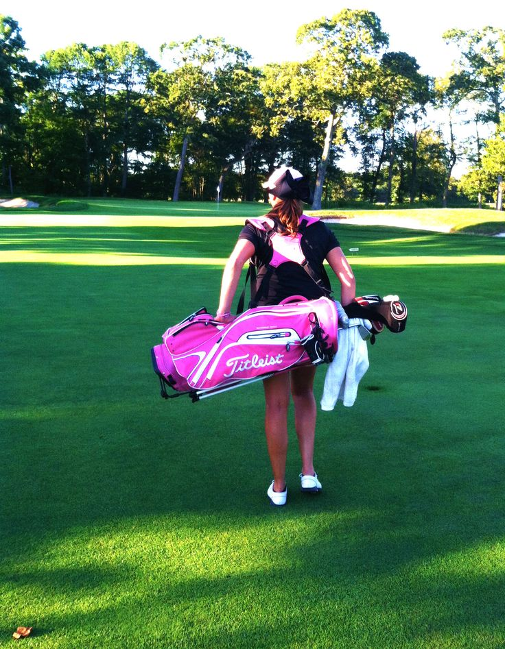 Few things in life make me happier than my pink titleist golf bag with my name on the ball pocket <3 #titleist #pink #golf #golfbag