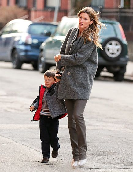 Gisele Bundchen and son Benjamin Brady out and about in Boston.