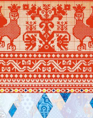 Sochi Winter Olympic Patchwork Quilt piece - Kuban patterns. Woven patterns decorated with embroidery for the traditional Cossack uniform.