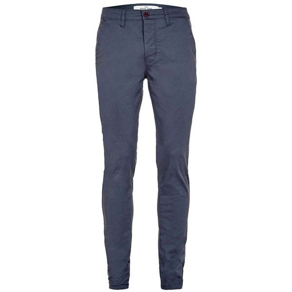 TOPMAN Graphite Blue Stretch Skinny Fit Chinos (575 MXN) ❤ liked on Polyvore featuring men's fashion, men's clothing, men's pants, men's casual pants, blue, mens chino pants, mens skinny pants, mens blue chino pants, mens skinny chino pants and mens skinny fit dress pants