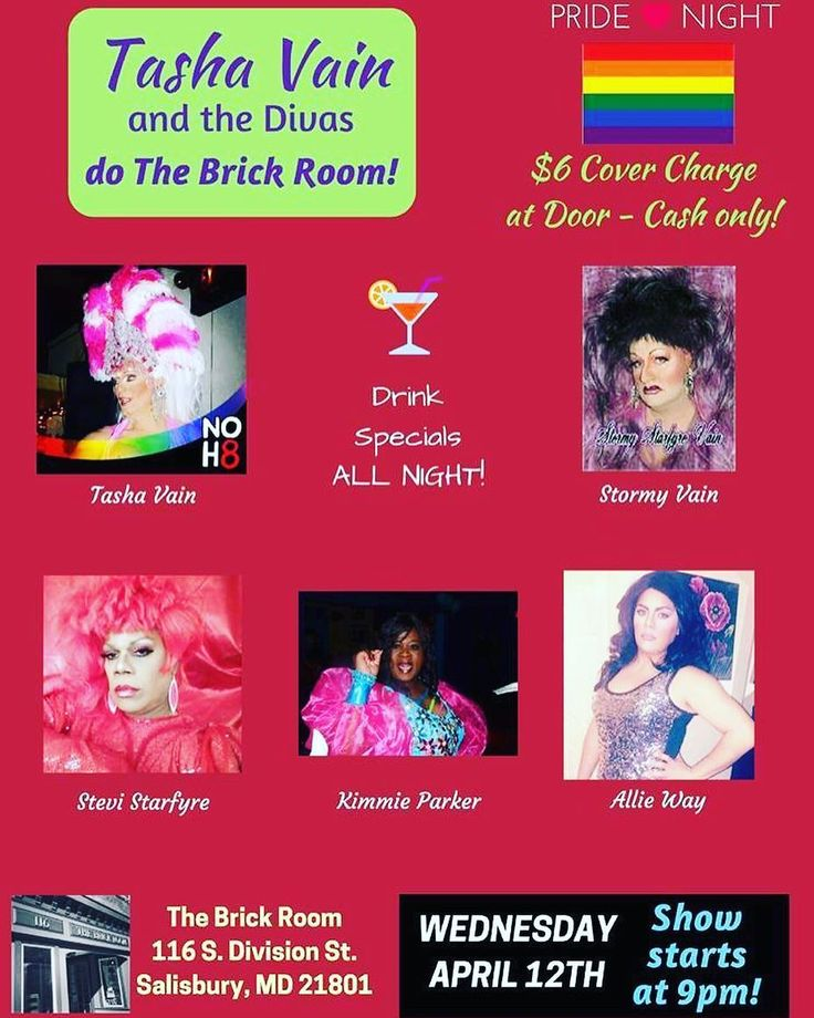 One more reminder come hang out with the Diva's tonight!! Don't forget the $6 cover charge cash at the door. These divas put in hours of preparation and many come from out of town so it's an incredibly small price to pay trust me!! Also bring some dollah bills for tips.  I'm headed to Roadies for happy hour & dinner then will be at The Brick Room. Come hang!!