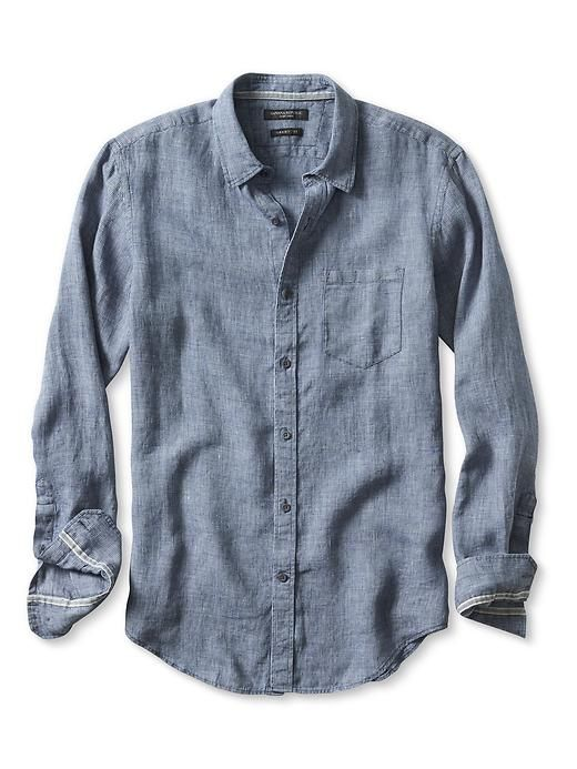 Grant fit textured indigo irish linen shirt banana for Irish linen dress shirts