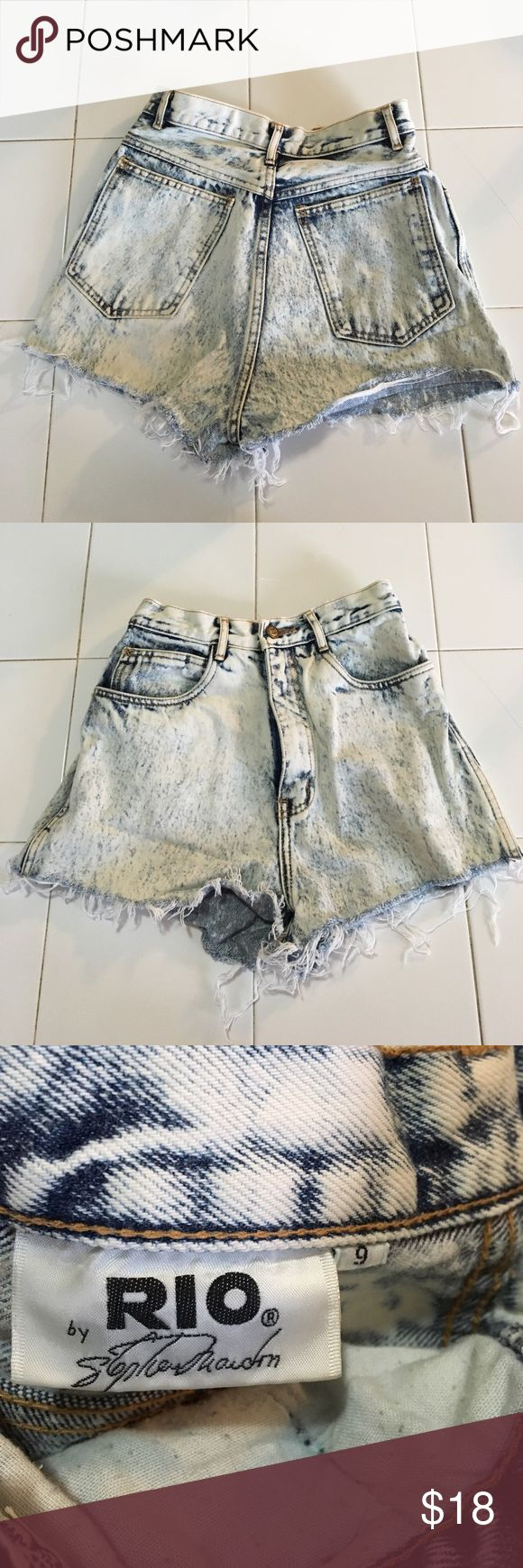 Vintage, high-waisted, acid wash shorts Super short shorts! Originally from a vintage boutique, they are from the 90's. . Says the size is a 9, but they fit like a 26/27 high-waisted. Rio Shorts Jean Shorts