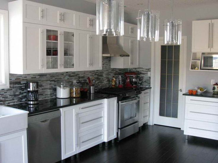 Black Kitchen Tile no voc paint for kitchen cabinets with black tiles | house