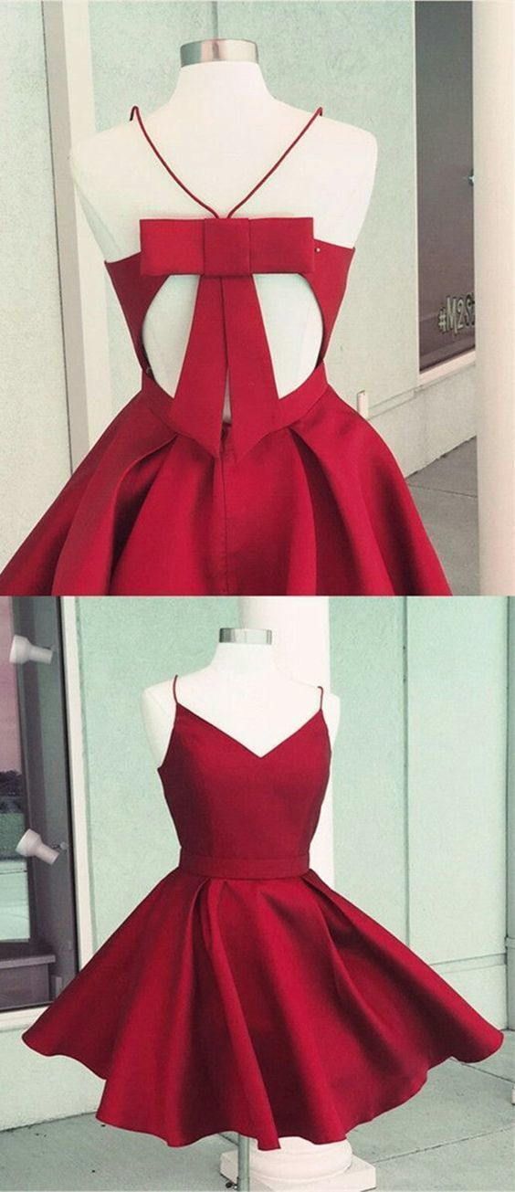 A-Line Open Back Short Red Satin Homecoming Dress with Bowknot Pockets by Hiprom…