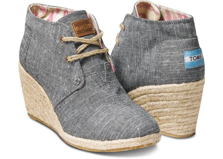 Black Chambray Women's Desert Wedges   Versatile comfort for the girl with ever-changing style.