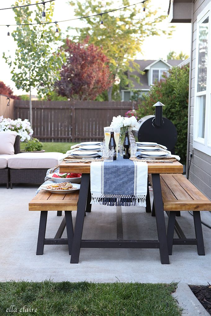 best 25 outdoor dining tables ideas on pinterest patio tables diy patio tables and outdoor. Black Bedroom Furniture Sets. Home Design Ideas