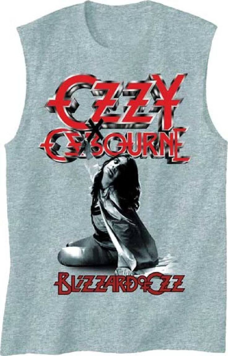 Our sleeveless Ozzy Osbourne t-shirt spotlights the album cover artwork from Blizzard of Ozz, Ozzy Osbourne's debut solo album. Featuring the hit Crazy Train, Blizzard of Ozz is Ozzy Osbourne's best selling solo release. Our men's muscle tee is made from 100% gray cotton and features a close up of the Ozzy Osbourne photograph, along with the red Ozzy Osbourne logo and Blizzard of Ozz album title, seen on the front cover of Blizzard of Ozz. #ozzyosbourne #bandtees #rockerrags