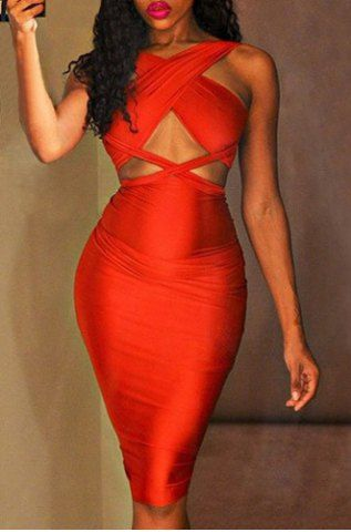 Sexy Sleeveless Solid Color Cut Out Convertible Bodycon Women's Dress