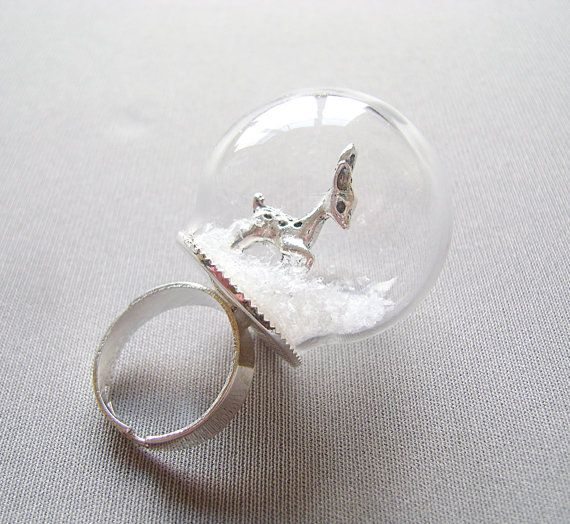 globe ring, glass dome with Shiny Silver Adjustable Ring Base, mini terrarium ring, terrarium jewelry, Deer and Snow