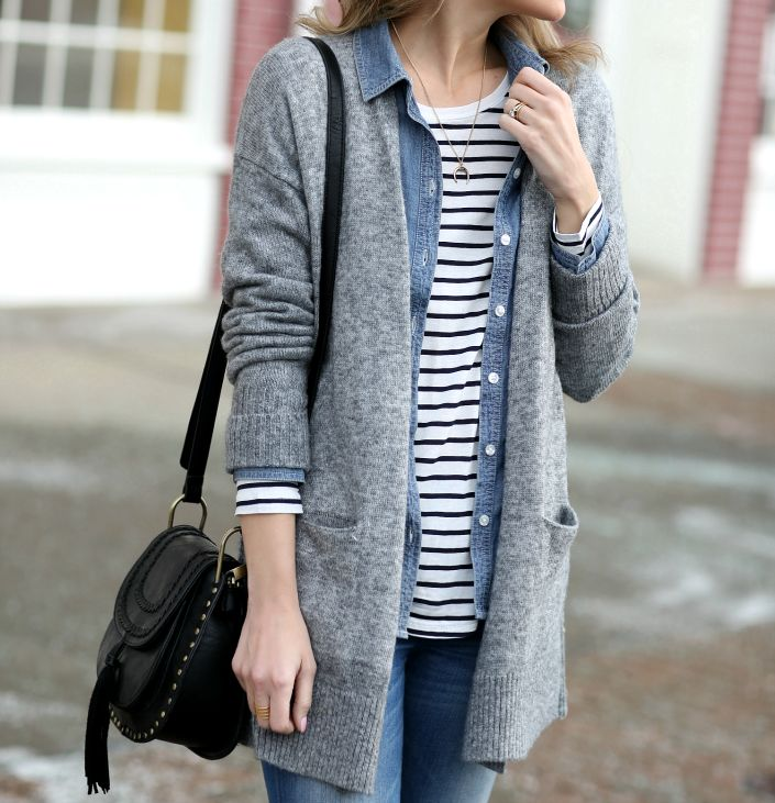 Casual layers: boyfriend cardigan, chambray shirt + striped tee