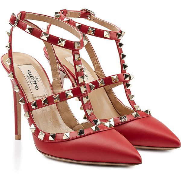 Valentino Leather Rockstud Pumps (1 132 AUD) ❤ liked on Polyvore featuring shoes, pumps, heels, red, ankle strap pumps, high heel pumps, red stiletto pumps, heels stilettos and pointed toe high heel pumps
