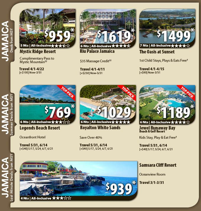 Jamaica Vacation Specials with Air from New Orleans from $769 Jamaica All-Inclusive Vacation Package Deals with Flights from New Orleans  Book your Vacation Express New Orleans to Jamaica trip today, which includes airfare, hotel, local representative and all taxes. Plus enjoy an unbeatable deal on an all-inclusive resort, which includes all meals and unlimited drinks at one low price.   For Details Contact http://taylormadetravel.agentarc.com  taylormadetravel142@gmail.com  call…