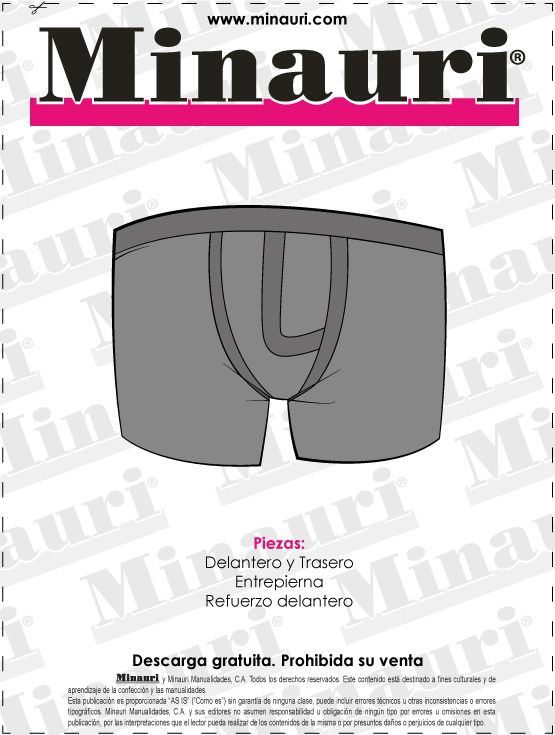 #Boxer de caballero (#molde o patron) #Descarga gratis en: www.minauri.com
