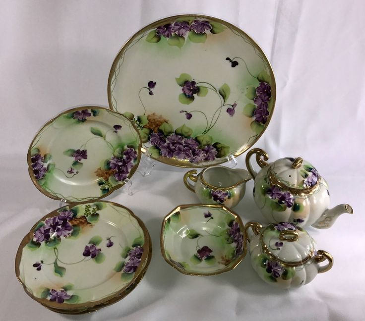 Antique Nippon Hand Painted Set in Violet 11 Pieces  | eBay