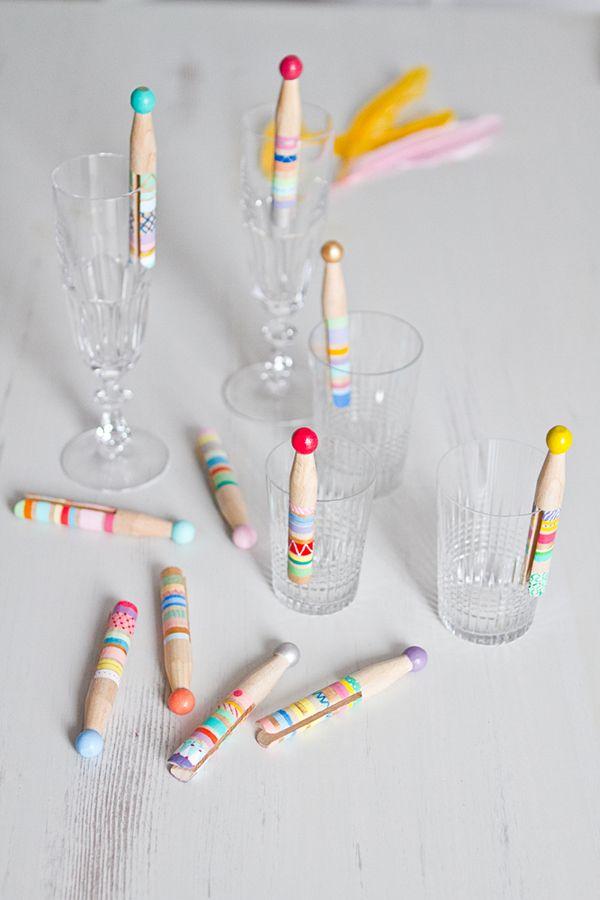 DIY-marque-verre pinces à linge anciennes