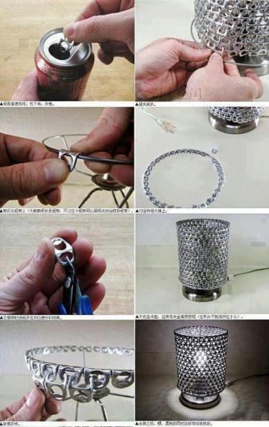 5 idee per il riciclo creativo. Costruire una lampada con le linguette di bibite in lattina