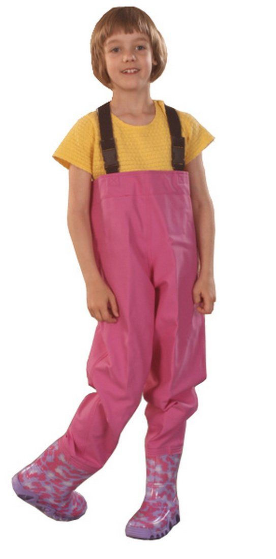 """Gordano"" Kids Fishing Chest Waders, Fishing Boots Splash (6 US Toddler - 140mm, Pink). Waterproof. Adjustable Braces. Breathable."