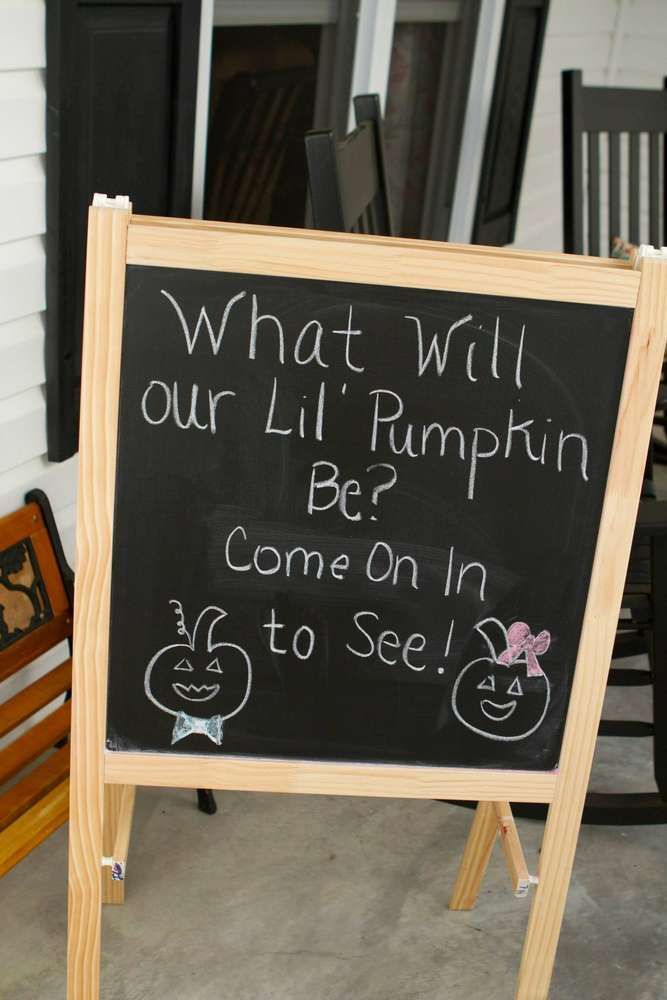 Our Lil' Pumpkin Gender Reveal Party | CatchMyParty.com