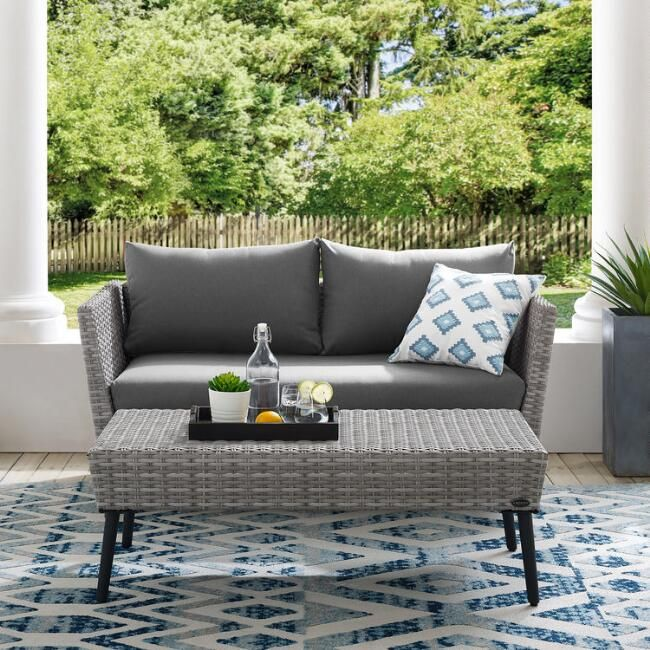 Gray All Weather Malique Outdoor Loveseat Coffee Table V5 Conversation Set Patio Patio Loveseat Outdoor Furniture Sets