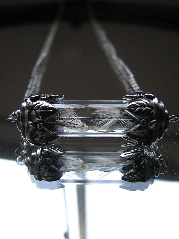 Silver Tube Necklace Gerber Daisy Glass Vial by SomewearInTyme, $28.00