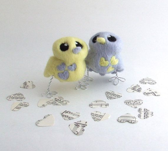 Bird Wedding Cake Topper Palest Grey and Lemon by feltmeupdesigns