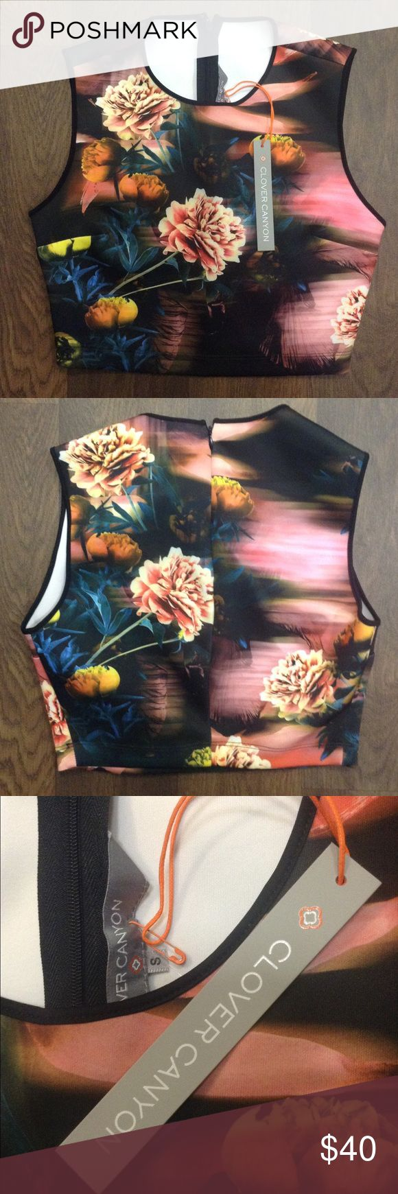NWT Clover Canyon Neoprene Floral Crop Top NEW! With Tags. Cute Clover Canyon Peony Flower Neoprene Back Zip Up Crop Top. Size is a small. Comment if you have any questions. . Make me an offer! Clover Canyon Tops Crop Tops