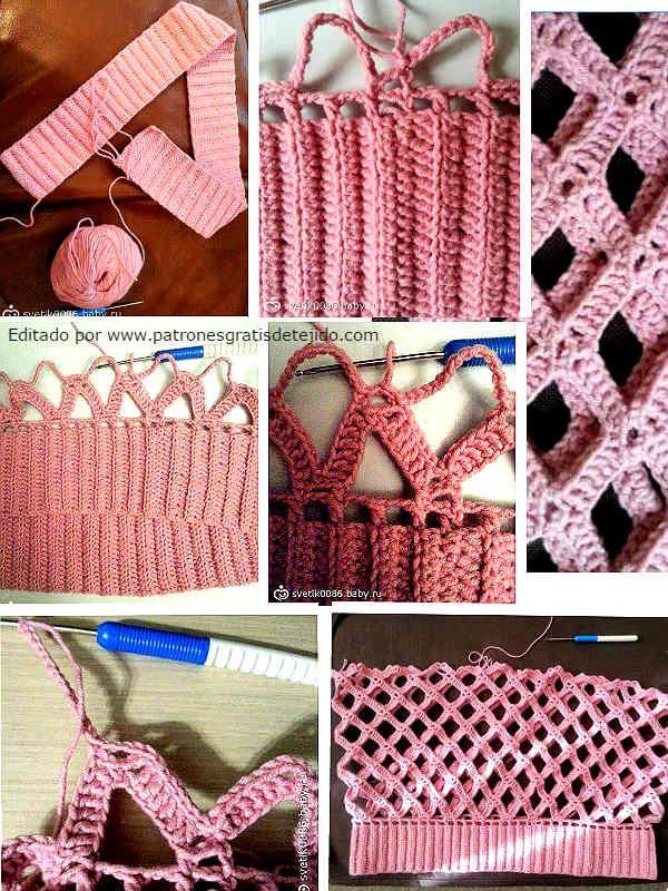 Cómo se teje el suéter con motivo de rombos calado a crochet. Clase magistral en español.